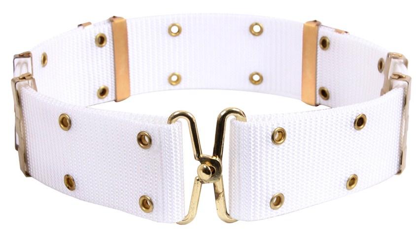 White Pistol Belts with Brass Grommets